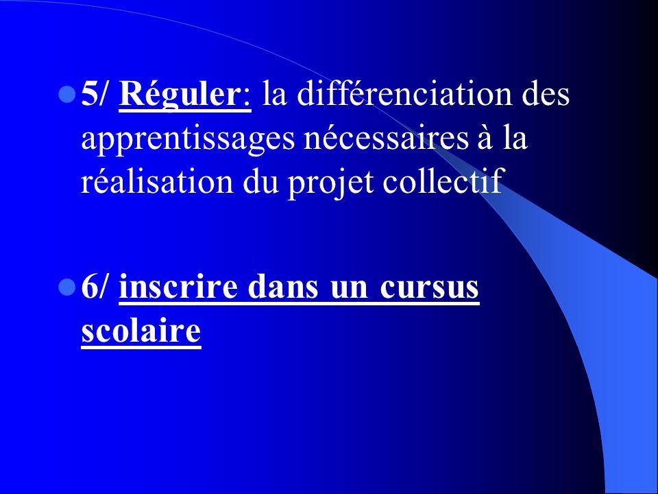 5/ Réguler: la différenciation des apprentissages nécessaires à la réalisation du projet collectif