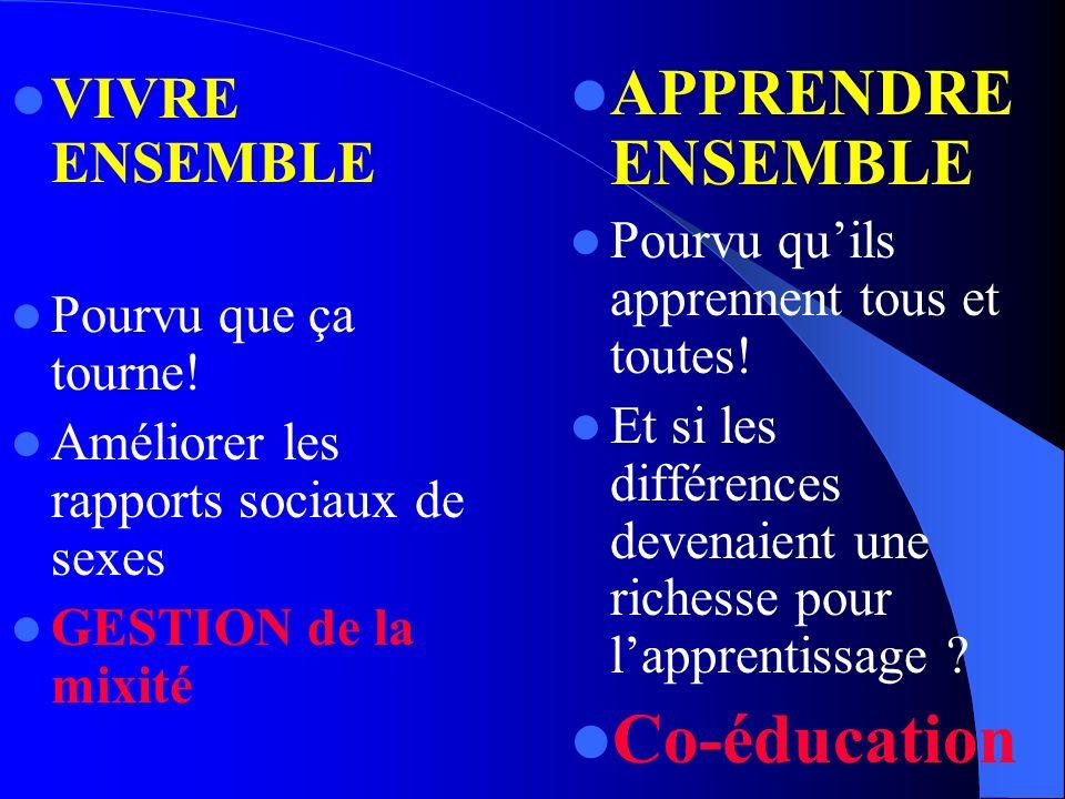 Co-éducation APPRENDRE ENSEMBLE VIVRE ENSEMBLE