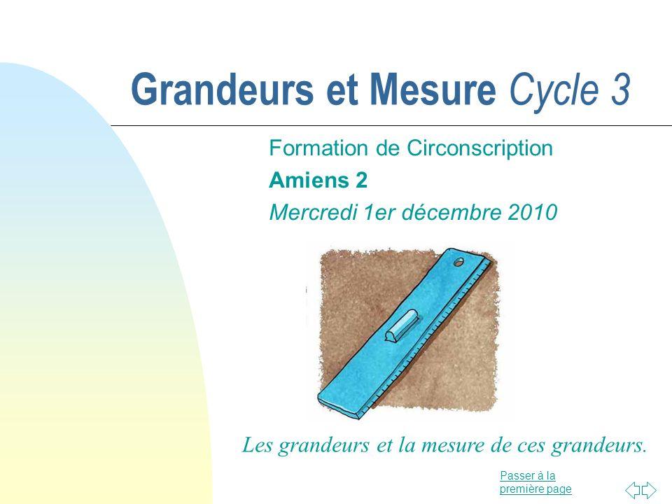 Grandeurs et Mesure Cycle 3