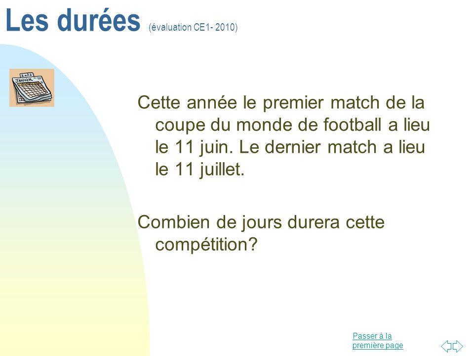 Les durées (évaluation CE1- 2010)