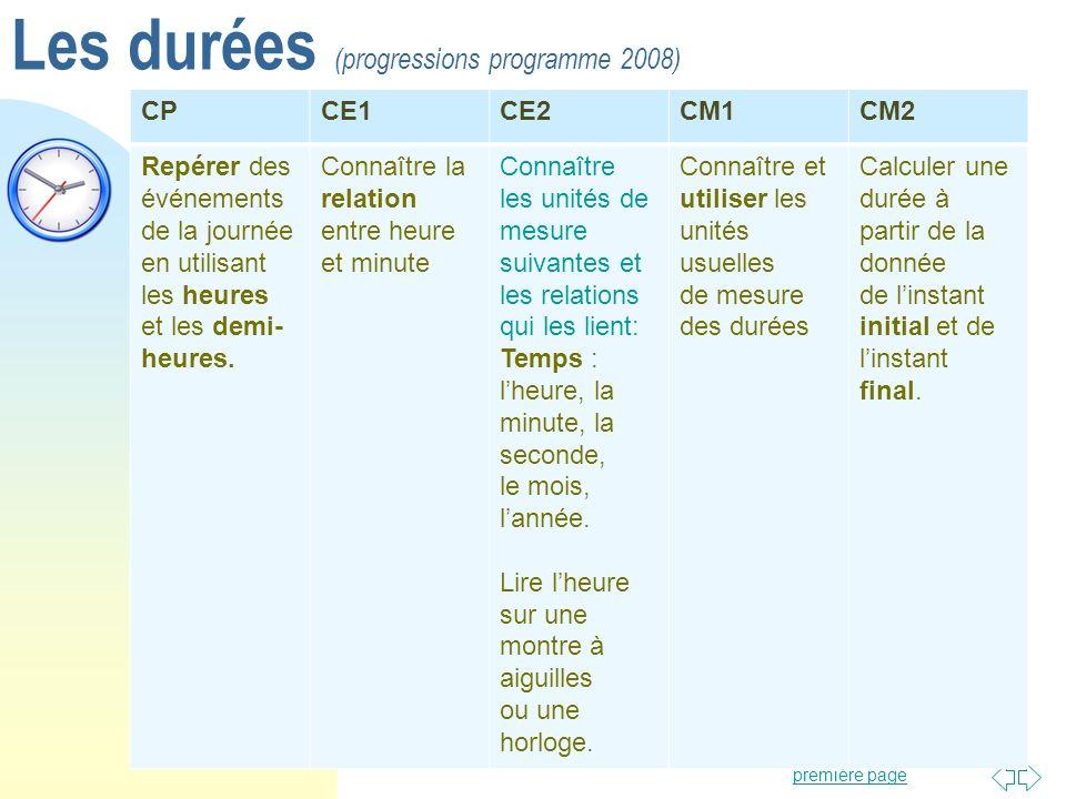 Les durées (progressions programme 2008)