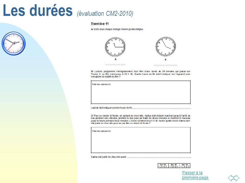 Les durées (évaluation CM2-2010)