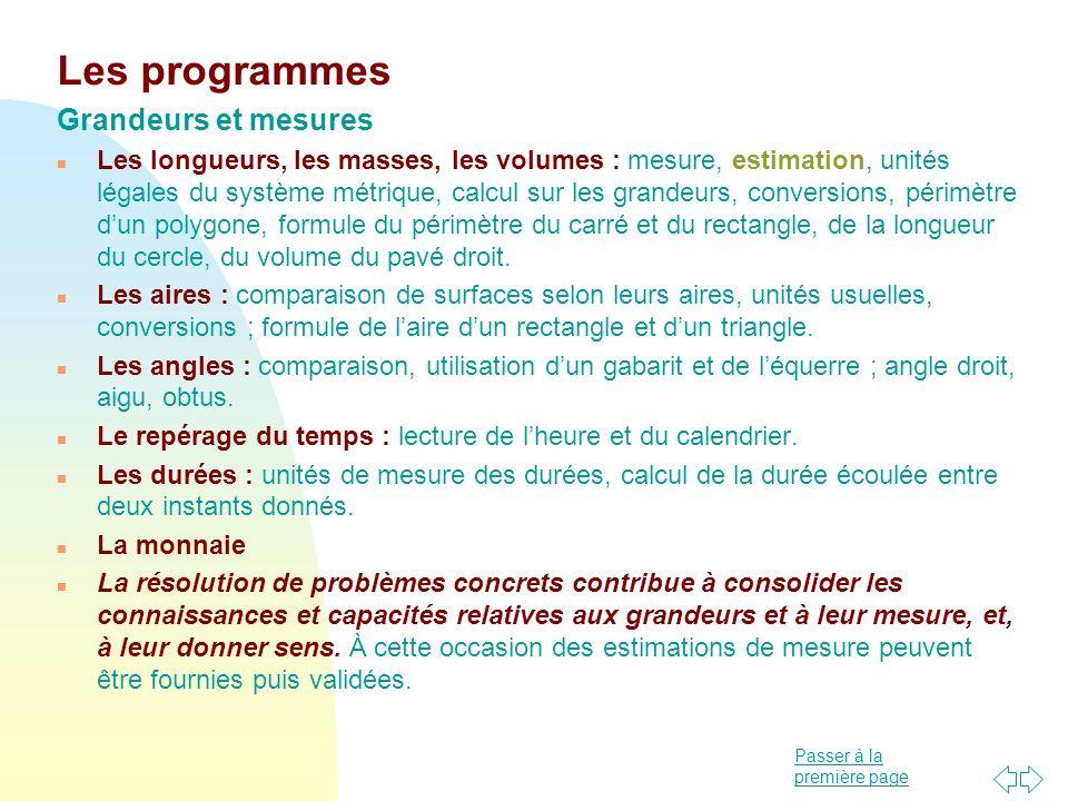 Les programmes Grandeurs et mesures