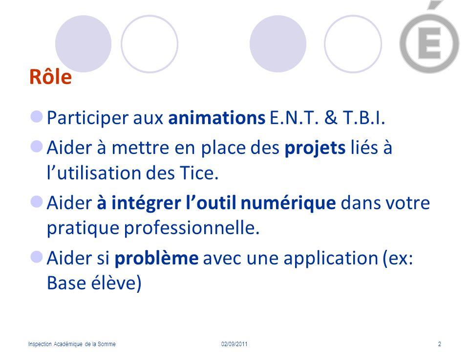 Rôle Participer aux animations E.N.T. & T.B.I.