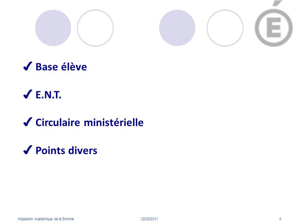 ✔ Circulaire ministérielle ✔ Points divers
