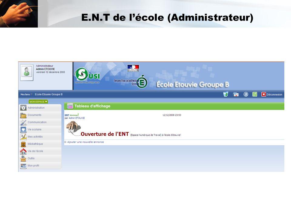 E.N.T de l'école (Administrateur)