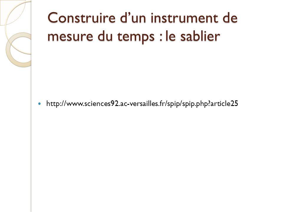 Construire d'un instrument de mesure du temps : le sablier
