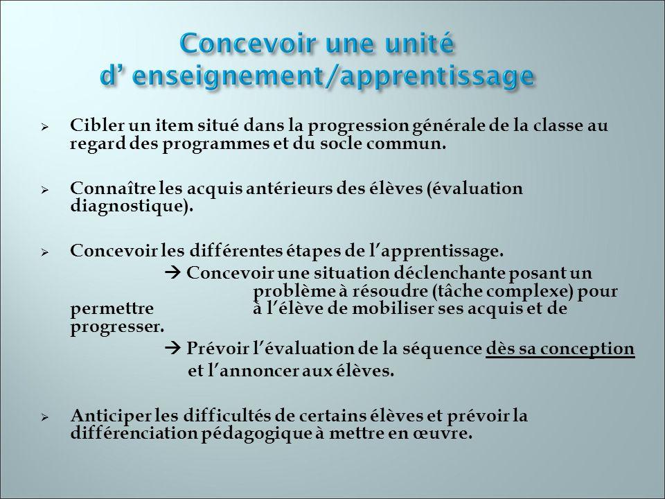 Cibler un item situé dans la progression générale de la classe au regard des programmes et du socle commun.