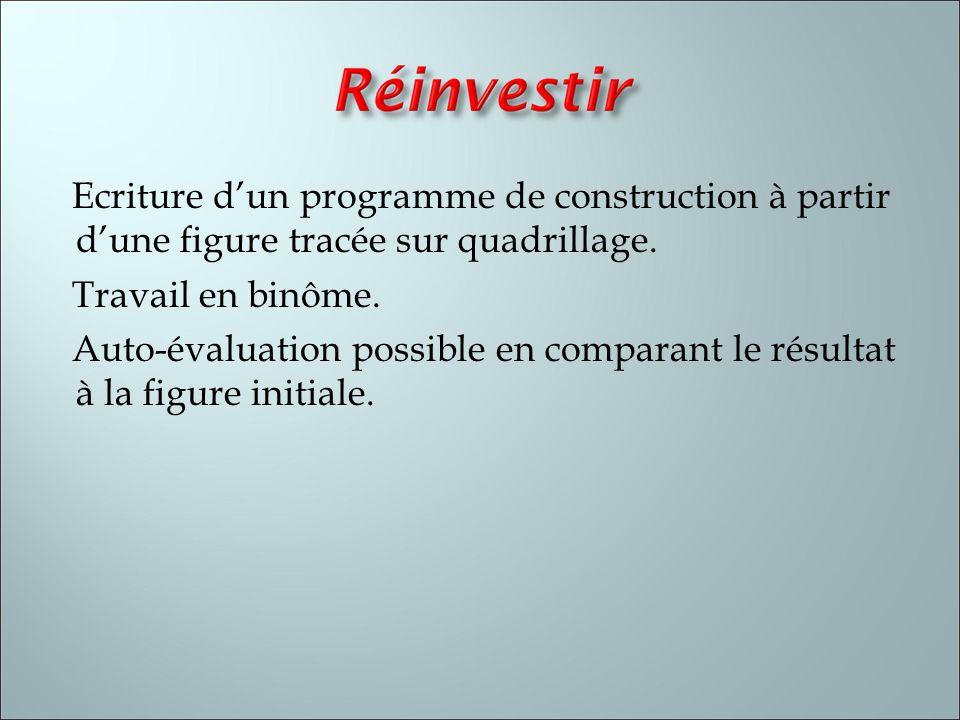 Ecriture d'un programme de construction à partir d'une figure tracée sur quadrillage.