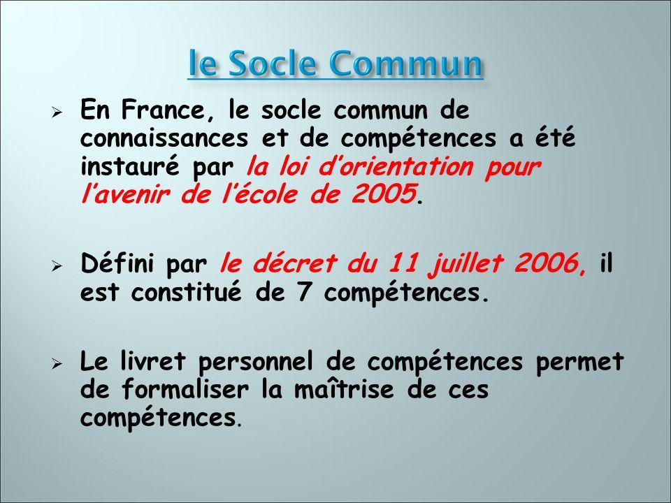 En France, le socle commun de connaissances et de compétences a été instauré par la loi d'orientation pour l'avenir de l'école de 2005.