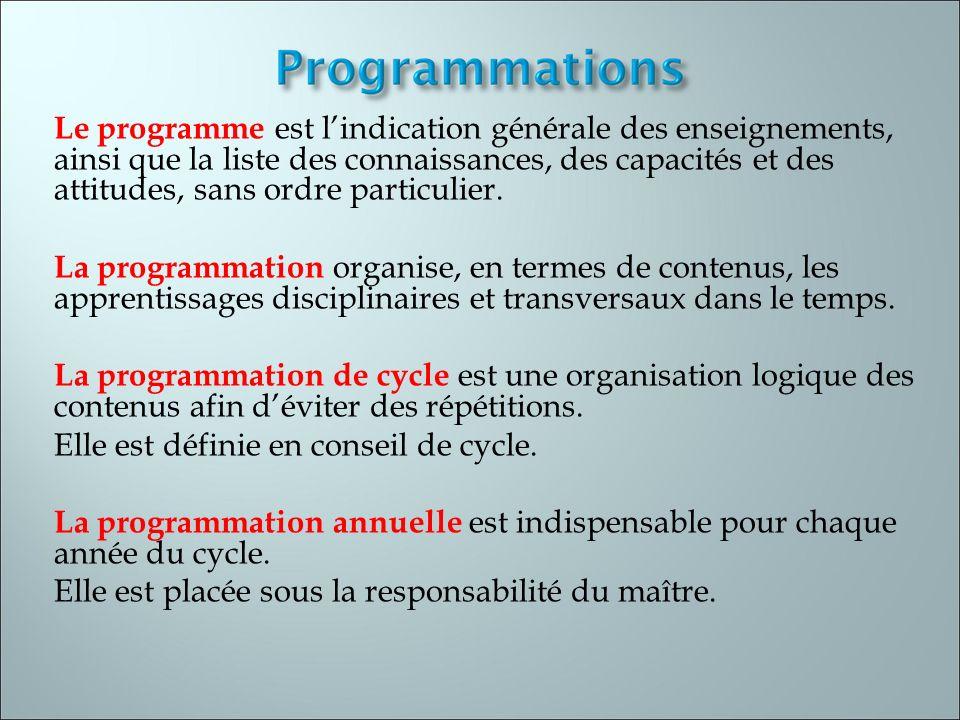Le programme est l'indication générale des enseignements, ainsi que la liste des connaissances, des capacités et des attitudes, sans ordre particulier.