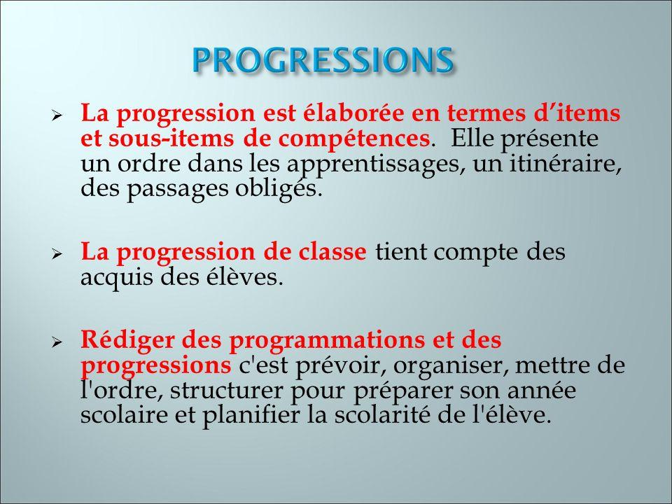 La progression est élaborée en termes d'items et sous-items de compétences. Elle présente un ordre dans les apprentissages, un itinéraire, des passages obligés.