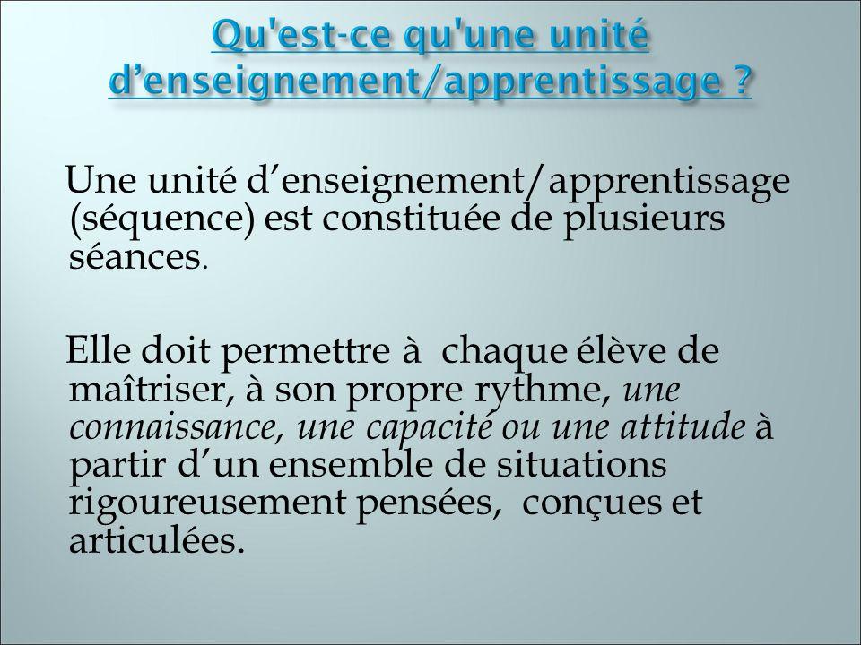 Une unité d'enseignement/apprentissage (séquence) est constituée de plusieurs séances.