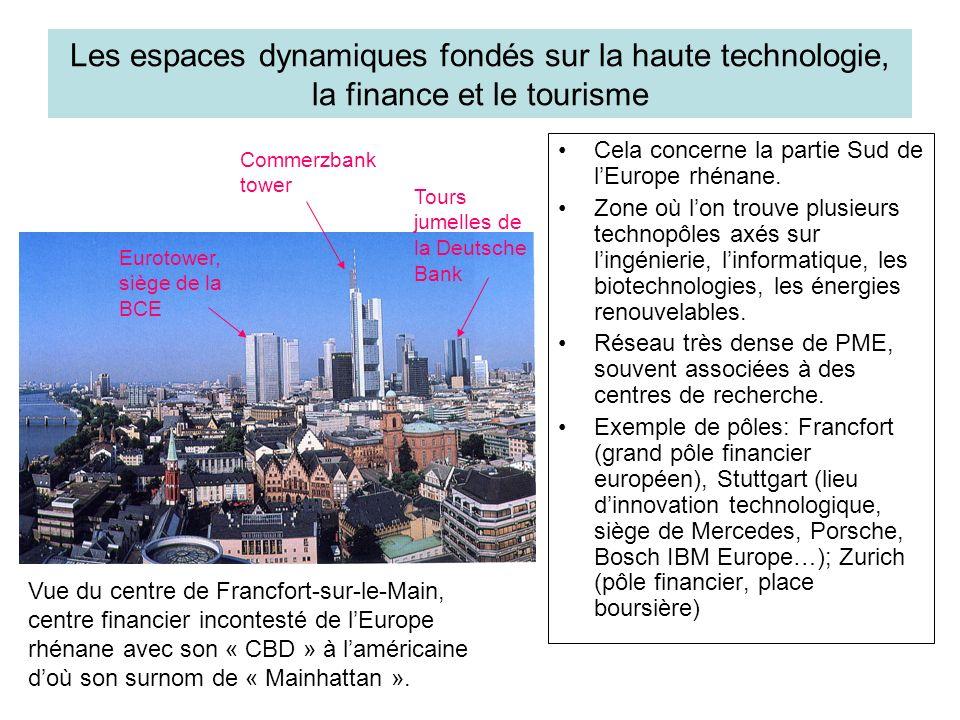 Les espaces dynamiques fondés sur la haute technologie, la finance et le tourisme