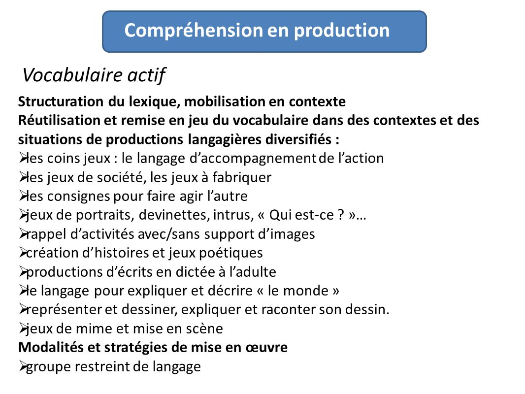 Compréhension en production