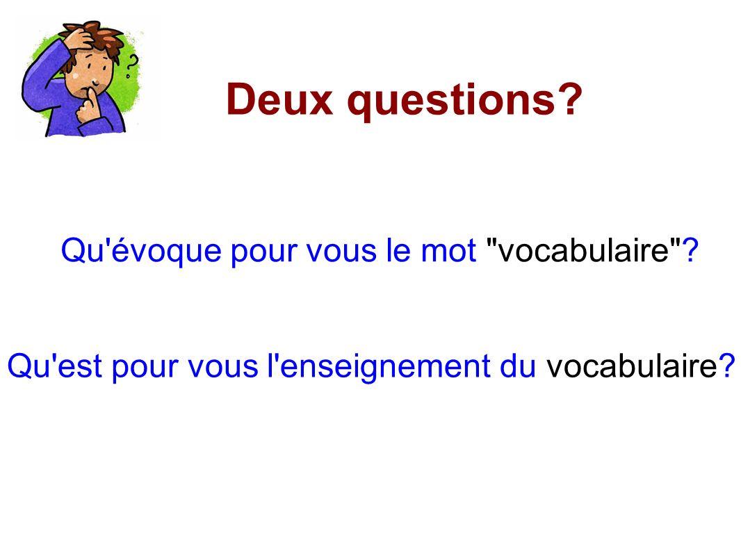 Deux questions Qu évoque pour vous le mot vocabulaire