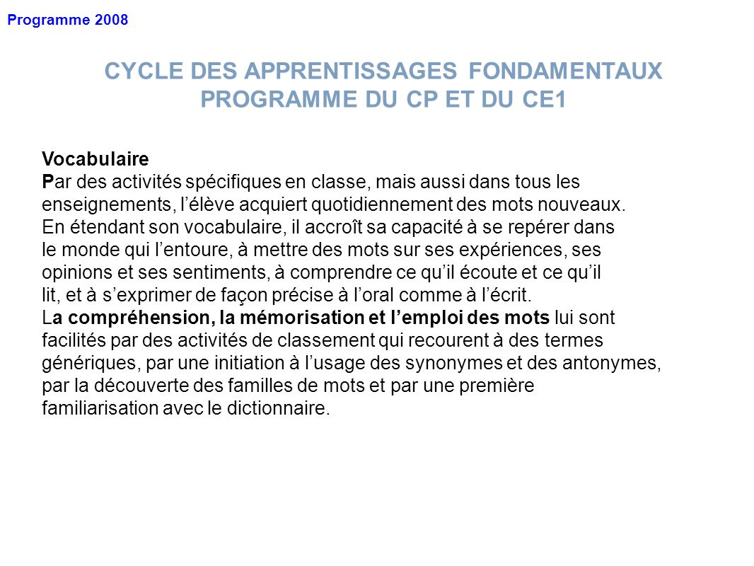 CYCLE DES APPRENTISSAGES FONDAMENTAUX