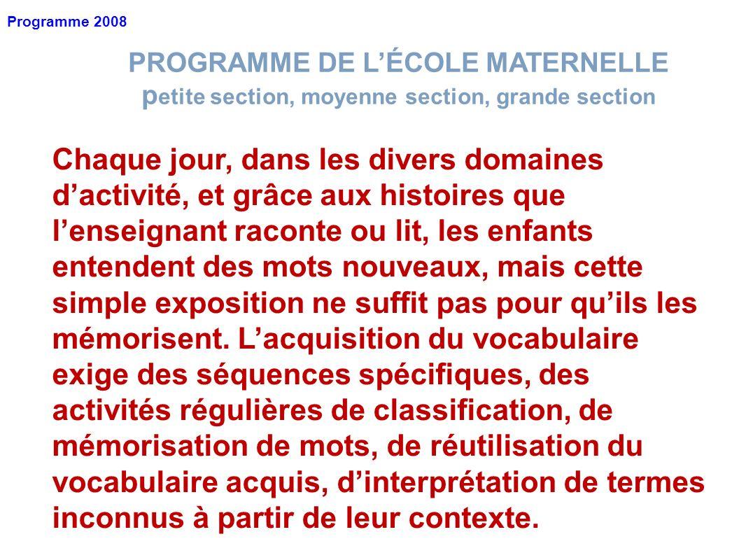 Programme 2008 PROGRAMME DE L'ÉCOLE MATERNELLE. petite section, moyenne section, grande section.