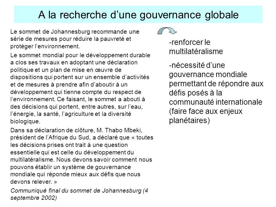 A la recherche d'une gouvernance globale