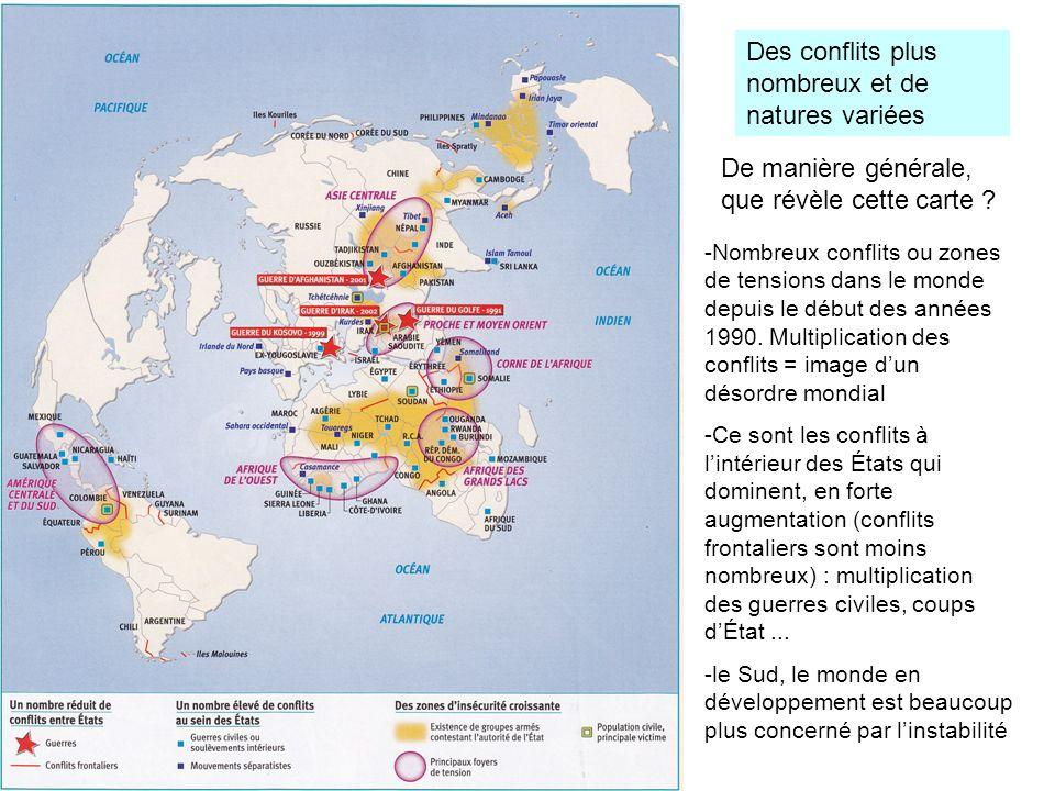 Des conflits plus nombreux et de natures variées