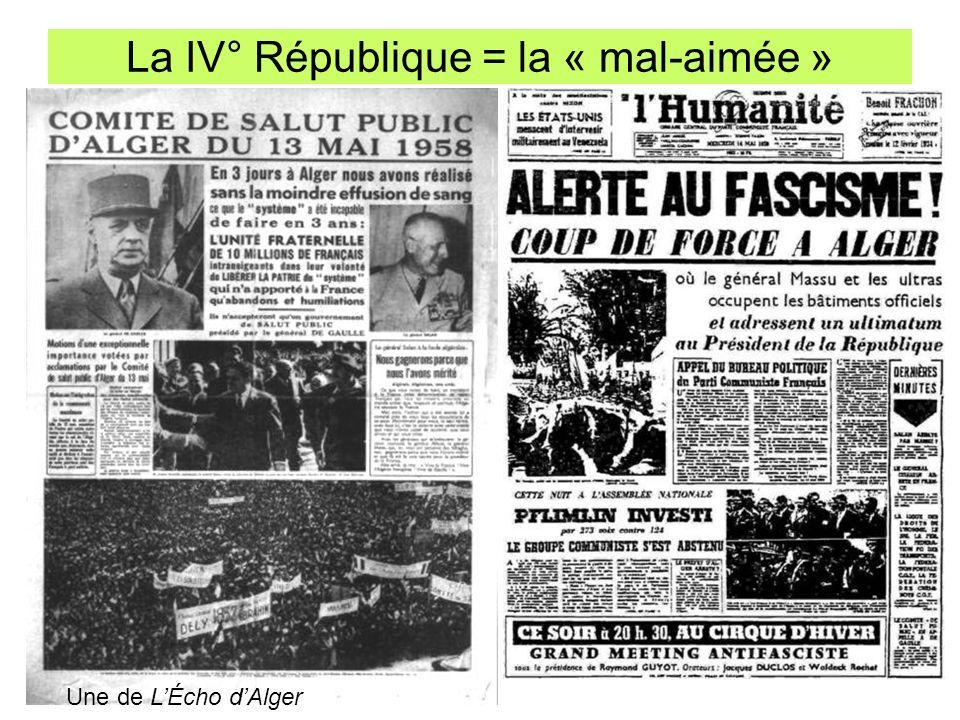La IV° République = la « mal-aimée »