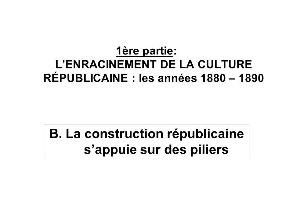 B. La construction républicaine s'appuie sur des piliers
