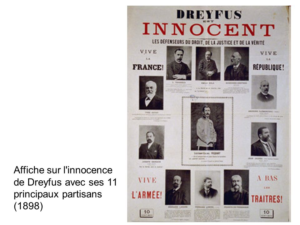 Affiche sur l innocence de Dreyfus avec ses 11 principaux partisans (1898)