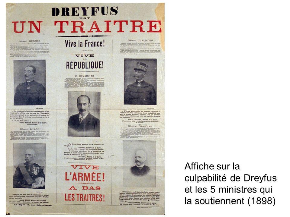 Affiche sur la culpabilité de Dreyfus et les 5 ministres qui la soutiennent (1898)