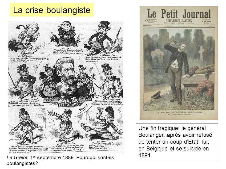 La crise boulangiste Une fin tragique: le général Boulanger, après avoir refusé de tenter un coup d'Etat, fuit en Belgique et se suicide en 1891.
