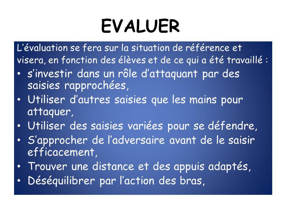 EVALUER L'évaluation se fera sur la situation de référence et. visera, en fonction des élèves et de ce qui a été travaillé :