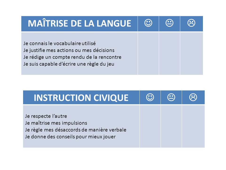 MAÎTRISE DE LA LANGUE    INSTRUCTION CIVIQUE   