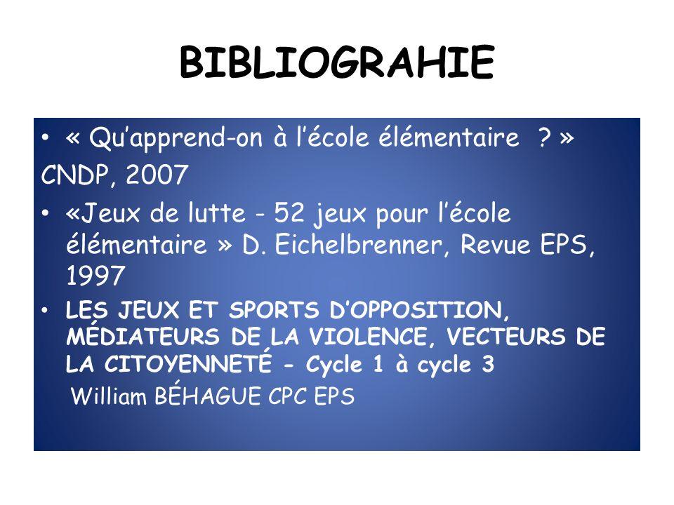 BIBLIOGRAHIE « Qu'apprend-on à l'école élémentaire » CNDP, 2007