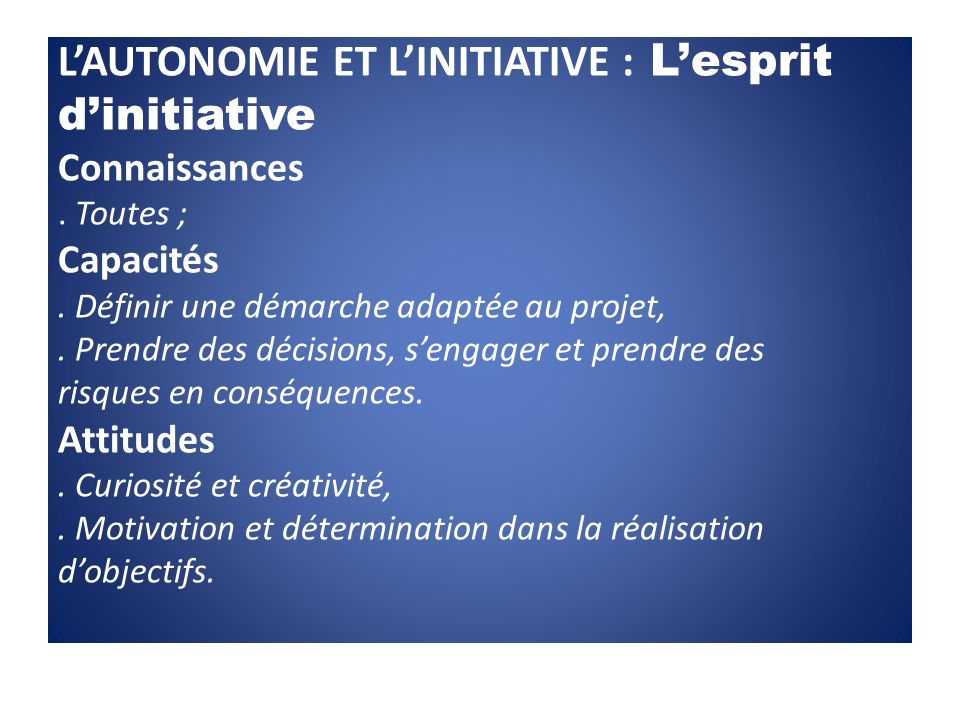 L'AUTONOMIE ET L'INITIATIVE : L'esprit d'initiative