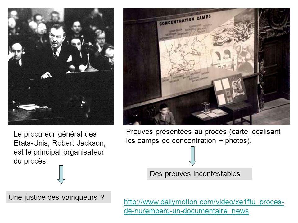 Preuves présentées au procès (carte localisant les camps de concentration + photos).