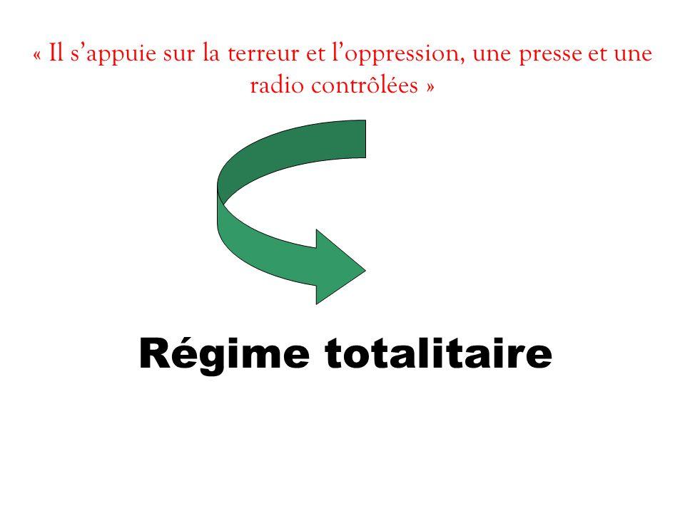 « Il s'appuie sur la terreur et l'oppression, une presse et une radio contrôlées »