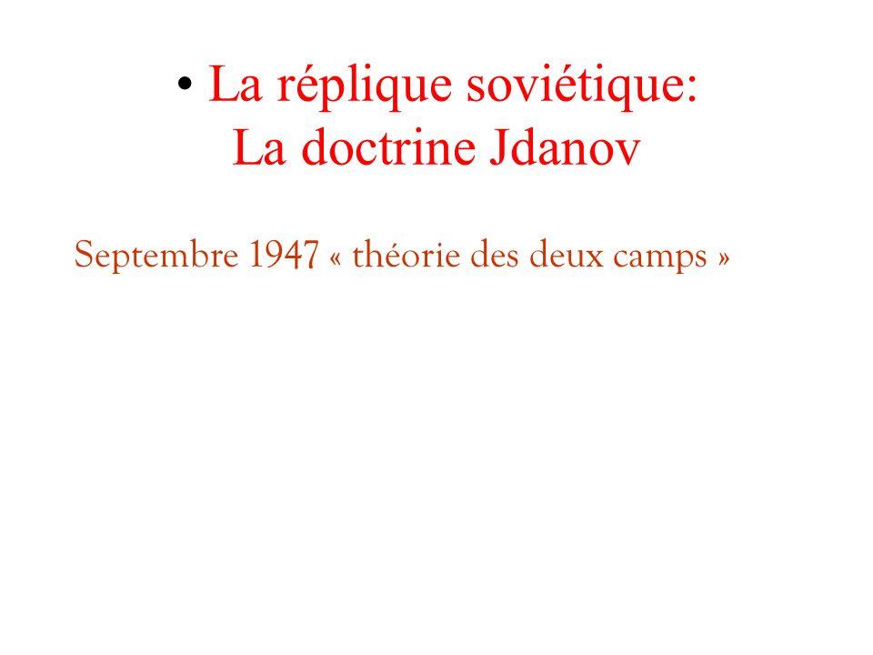 La réplique soviétique: La doctrine Jdanov