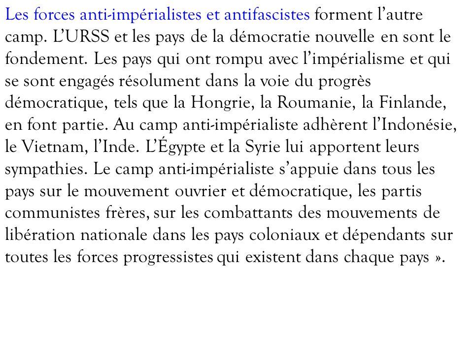 Les forces anti-impérialistes et antifascistes forment l'autre camp