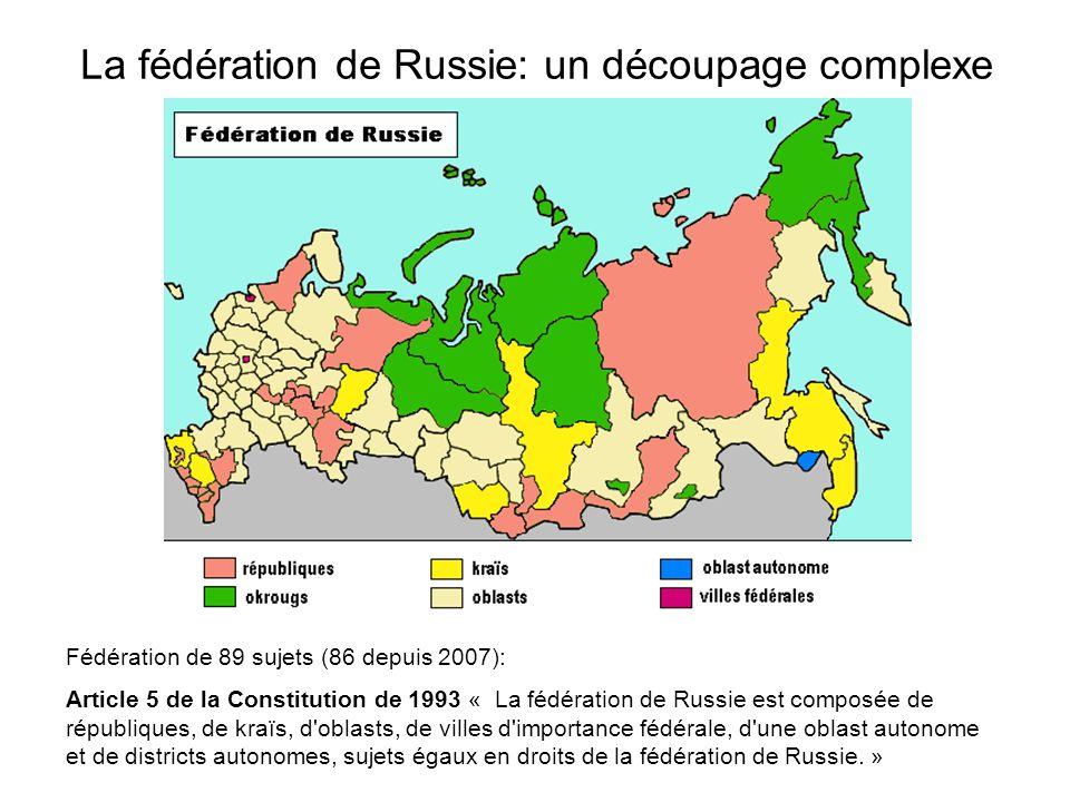 La fédération de Russie: un découpage complexe