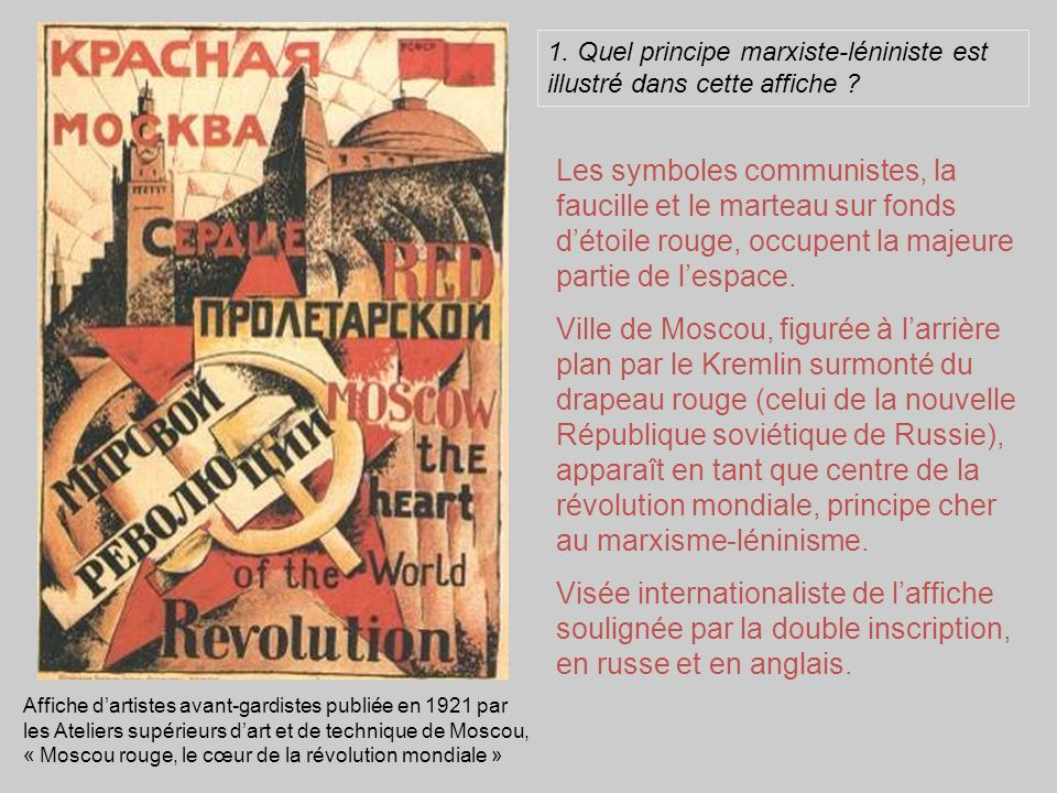1. Quel principe marxiste-léniniste est illustré dans cette affiche