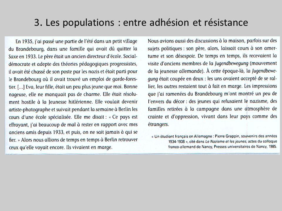 3. Les populations : entre adhésion et résistance