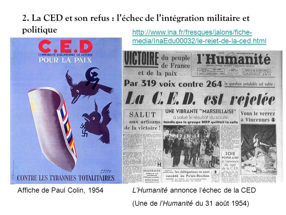 2. La CED et son refus : l'échec de l'intégration militaire et politique