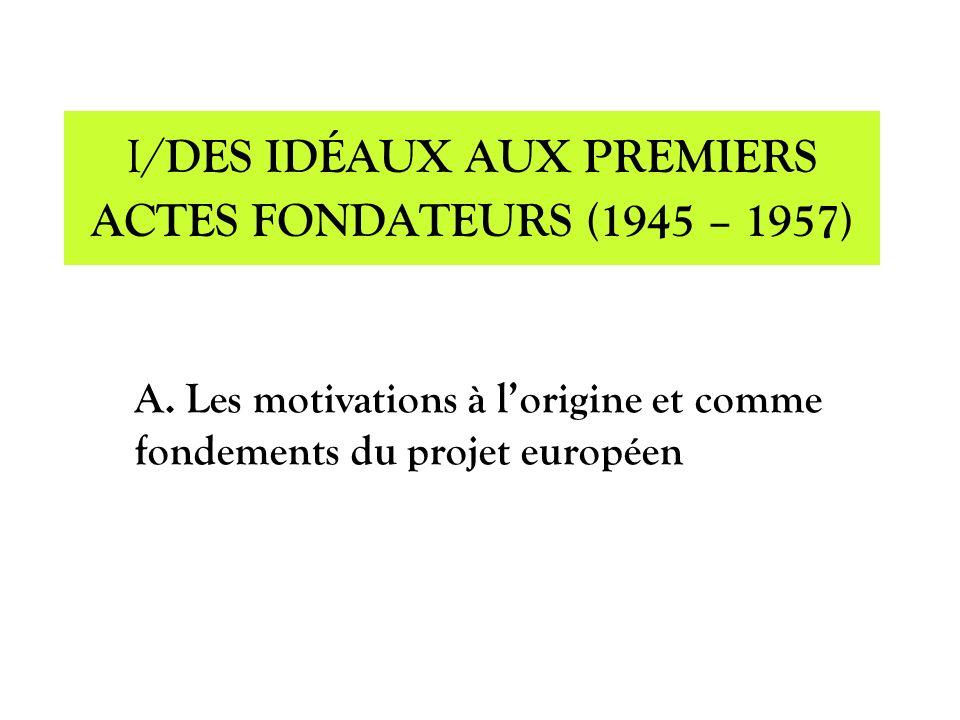 I/DES IDÉAUX AUX PREMIERS ACTES FONDATEURS (1945 – 1957)