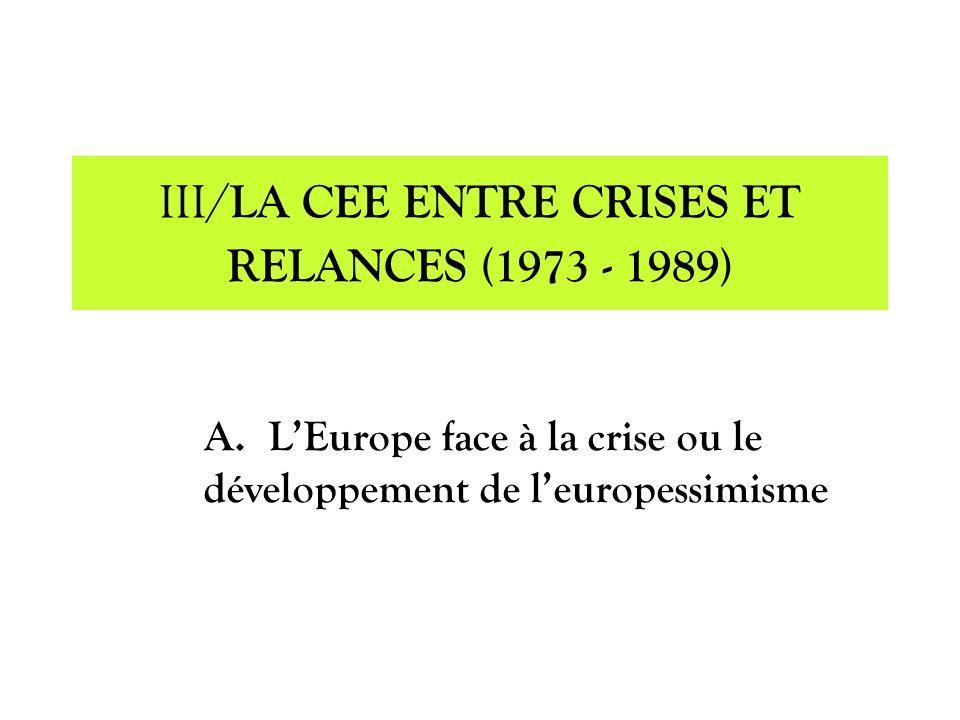 III/LA CEE ENTRE CRISES ET RELANCES (1973 - 1989)