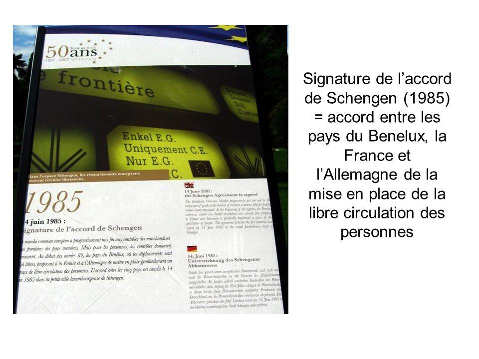 Signature de l'accord de Schengen (1985) = accord entre les pays du Benelux, la France et l'Allemagne de la mise en place de la libre circulation des personnes