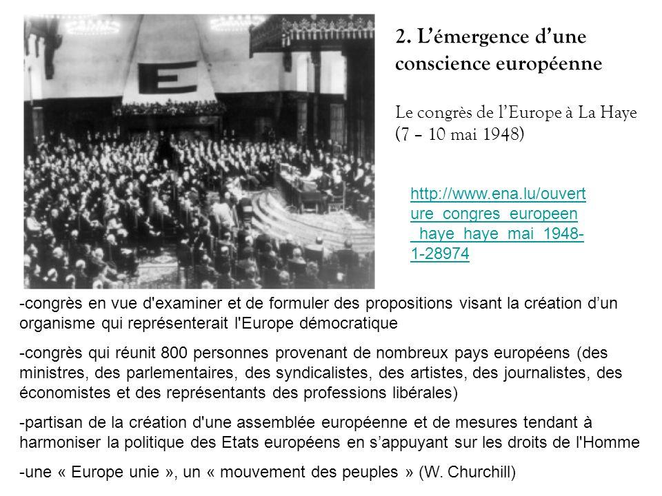 2. L'émergence d'une conscience européenne