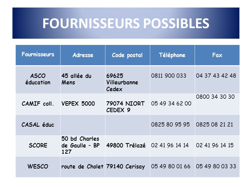 FOURNISSEURS POSSIBLES