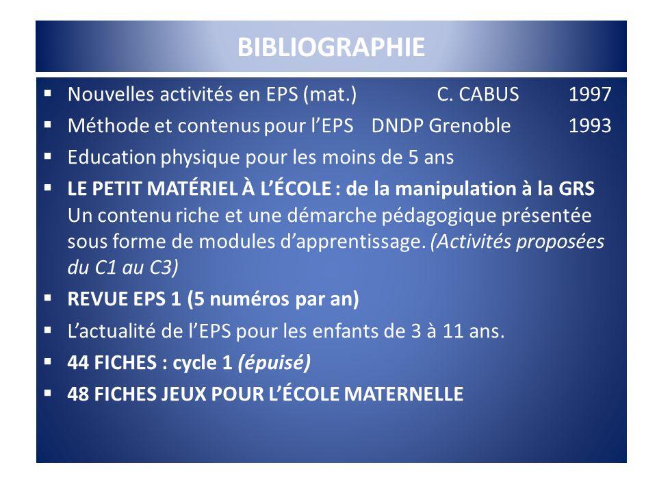 BIBLIOGRAPHIE Nouvelles activités en EPS (mat.) C. CABUS 1997