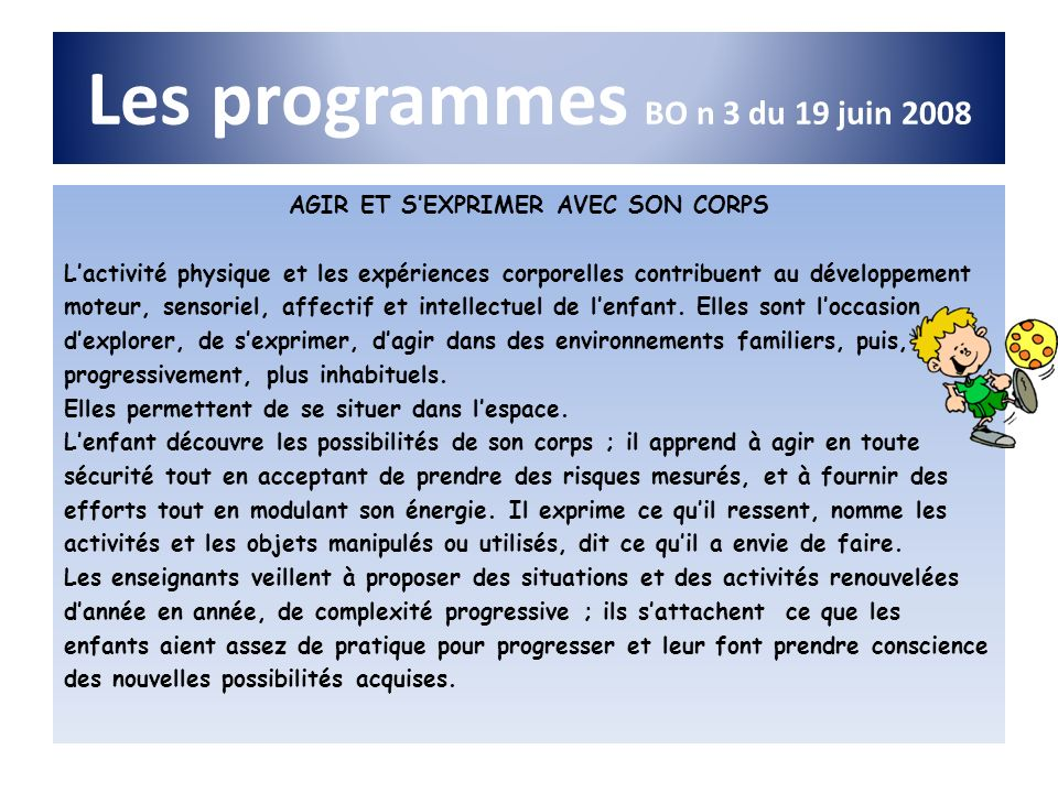 Les programmes BO n 3 du 19 juin 2008