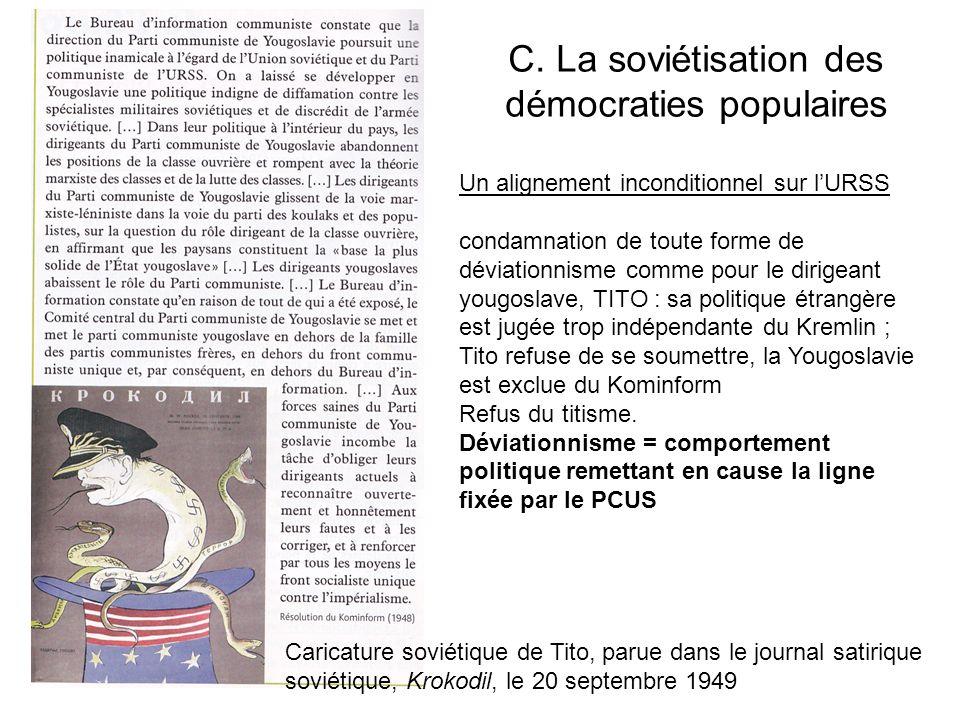 C. La soviétisation des démocraties populaires