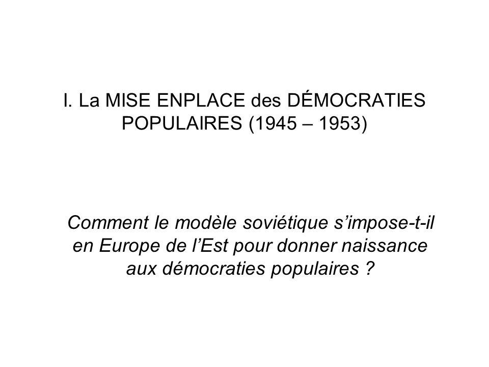 I. La MISE ENPLACE des DÉMOCRATIES POPULAIRES (1945 – 1953)